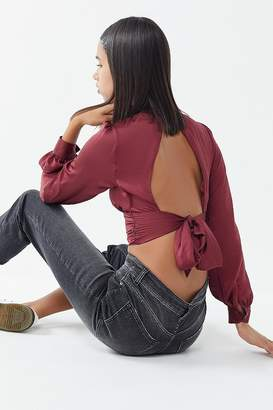 Urban Outfitters Viv Satin Open-Back Blouse