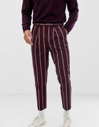 Asos Design DESIGN smart tapered pants in burgundy with pin stripe