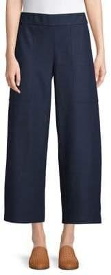 Eileen Fisher Cropped Wide-Leg Wool Pants