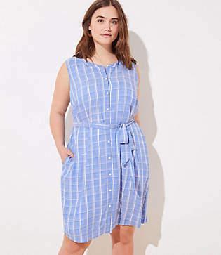 LOFT Plus Plaid Sleeveless Tie Waist Shirtdress
