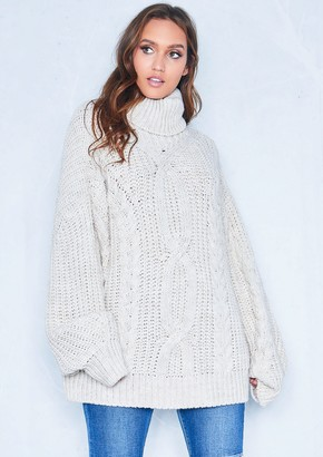 41bd500511 Missy Empire Missyempire Francesca Beige Cable Knit Roll Neck Oversized  Jumper