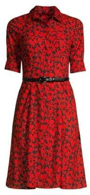 Elie Tahari Aisha Belted Floral Shirtdress