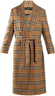 Burberry Unisex vintage-checked belted wool coat