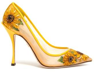 Dolce & Gabbana Sunflower Embroidered Point Toe Mesh Pumps - Womens - Yellow Multi