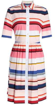 Berber Striped Cotton-Blend Mini Shirt Dress