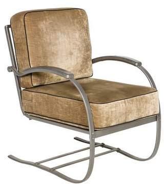 Velvet-Upholstered Lounge Chair
