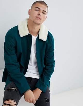 Asos DESIGN worker jacket in bottle green with fleece collar