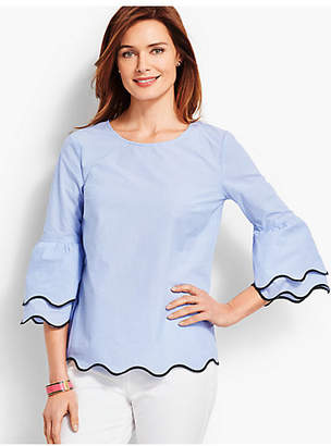 Talbots Embroidered Scallop-Edge Top - Pinstripe