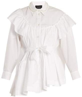 Simone Rocha Embellished Collar Tie Waist Cotton Shirt - Womens - White