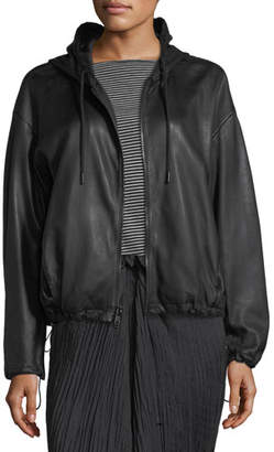 Vince Lamb Leather Drawstring Zip-Front Hooded Jacket