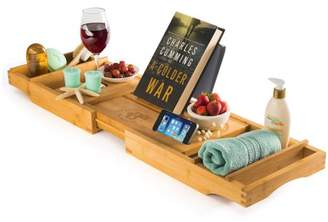 Bambusi Bathtub Caddy Tray with Book and Wine Holder for a Spa Relaxing Bath,