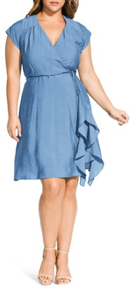 City Chic Ruffled Satin Faux Wrap Dress