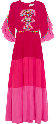 Lace-paneled Tiered Silk Gown - Fuchsia