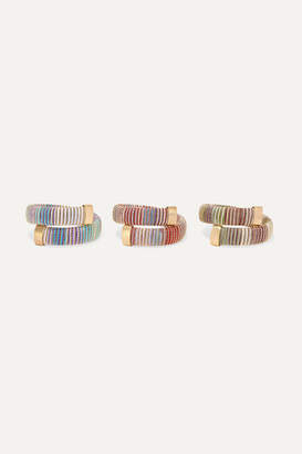 Carolina Bucci Caro Set Of Three Gold-plated And Cotton Bracelets