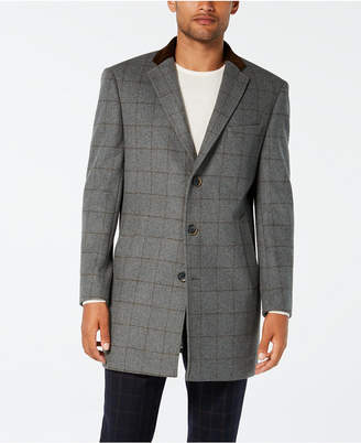 Tallia Men Slim-Fit Gray Windowpane with Velvet Trim Overcoat