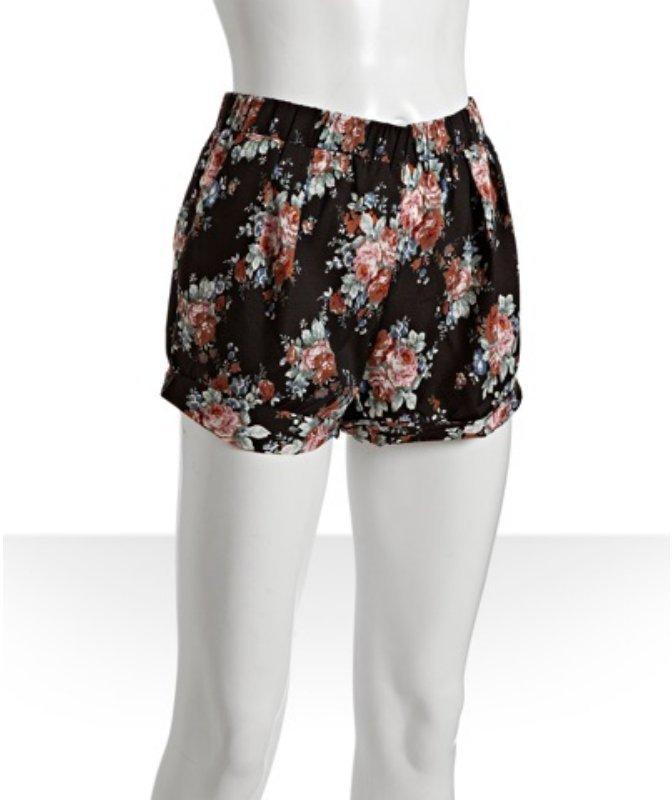 Wyatt black floral print mini shorts