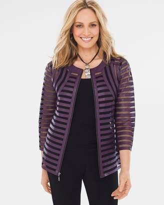 Chico's Travelers Collection Purple Strip Jacket