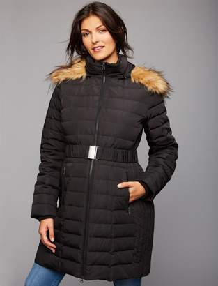 A Pea in the Pod Faux Fur Trim Quilted Puffer Maternity Jacket