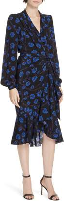 Diane von Furstenberg Jovie High/Low Ruffle Hem Wrap Dress