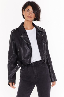 Nasty Gal Womens Leather Have I Ever Leather Biker Jacket - Black - 8