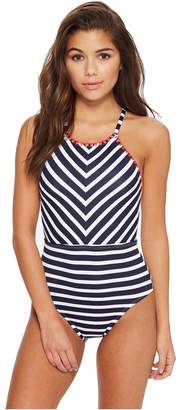 Tommy Bahama Breton Stripe High-Neck One-Piece Swimsuit Women's Swimsuits One Piece