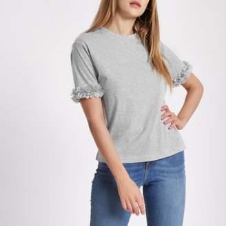 River Island Womens Grey marl flower sleeve boxy T-shirt