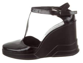 Prada Leather T-Strap Wedge Pumps