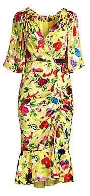 Saloni Women's Olivia Floral Midi Wrap Dress - Size 0