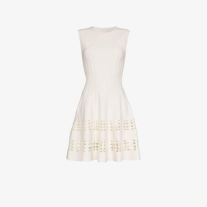 Contraste sleeveless cutout wool blend dress