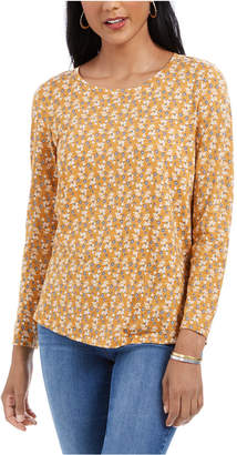 Style&Co. Style & Co Long-Sleeve Floral Print T-Shirt