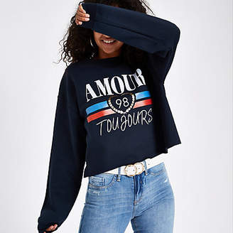 River Island Navy 'Amour toujours' sweater