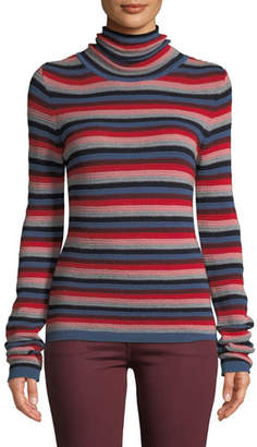 MiH Jeans Moonie Striped Merino Wool Turtleneck Sweater