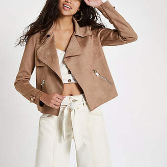 River Island Light brown faux suede cropped trench jacket