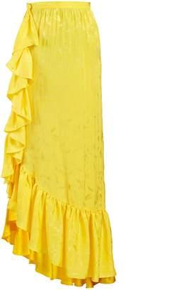 Asymmetric jacquard ruffle-skirt