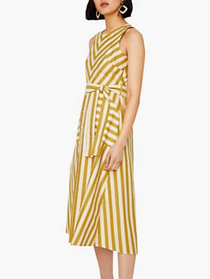 Warehouse Chevron Stripe Waist Tie Midi Dress, Yellow