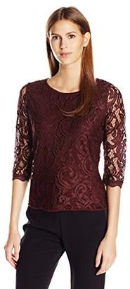 Adrianna Papell Women's 3/4 Sleeve Lace Blouse