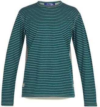 Junya Watanabe Panelled Long Sleeved Wool And Cotton T Shirt - Mens - Grey