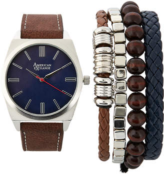 N. American Exchange MST518S Silver-Tone & Brown Watch & Bracelet Set