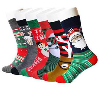 Feetalk Men's Premium Cotton Christmas Pattern Dress Socks with Christmas Gift Box 6 Pack()