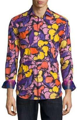 Robert Graham Limited Edition Floral-Print Sport Shirt, Purple $398 thestylecure.com