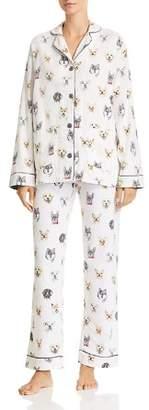 PJ Salvage Think Pawsitive Dog Print Flannel Cotton Pajama Set