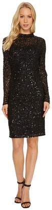 Adrianna Papell Long Sleeve All Over Sequin Cocktail Dress with Mock Neck Women's Dress