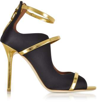 Malone Souliers By Roy Luwolt Mika Black Satin And Gold Mirror Nappa High Heel Sandals