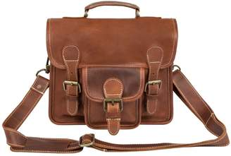 MAHI Leather - Mini Leather Harvard Satchel/Messenger Bag Handbag/Clutch Bag in Vintage Brown