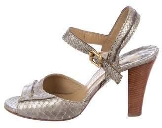 Chloé Python Peep-Toe Sandals