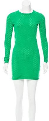 Acne Studios Open Knit-Accented Long Sleeve Dress