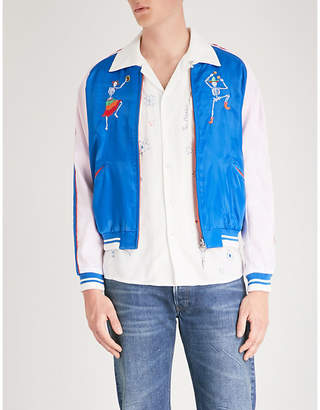 Hollywood Trading Company Day of the Dead-embroidered reversible satin bomber jacket