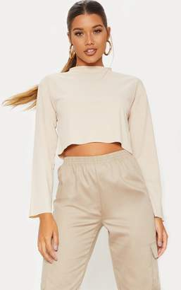 PrettyLittleThing Stone Rib Long Sleeve Crop Top