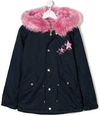 Little Marc Jacobs TEEN logo embroidered parka coat