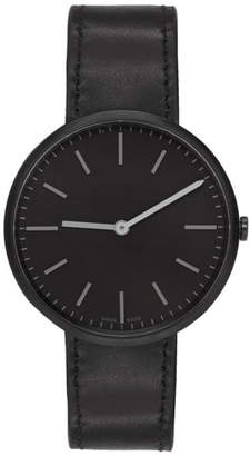 Uniform Wares Gunmetal and Black Leather M37 Two-Hand Watch